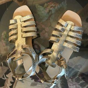 Gold snakeskin Nine West gladiator sandals